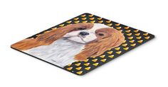 Cavalier Spaniel Blenheim Candy Corn Halloween Mouse Pad, Hot Pad or Trivet