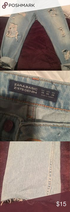 Zara boyfriend jeans Super cute and perfect for summer! No hem, light wash , destroyed boyfriend fit jeans. Bought from other posher but the fit is a more loose than I thought. Says size 6 but fits more for a size 8. Zara Jeans Boyfriend