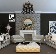 Modern Living Room Interior Design Ideas - Baroque Interior Design Ideas: very cute but a little too fancy for my taste.