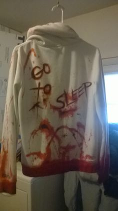 This is my Hoodie that is all bloody and ready for my costume:D Obviously I'm being Jeff The Killer <3 I'm Pretty proud of it:D