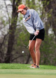 Ames' Emily Marrs hits a chip shot on the 13th hole at Veenker Memorial Golf Course on Tuesday. Photo by Nirmalendu Majumdar/Ames Tribune