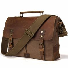 High Capacity Mens Briefcase Office zip closure handbag retro style leather business briefcase 9.7 netbook holder messenger messenger bag brown//brown Fashion Useful Convenient Color : Brown