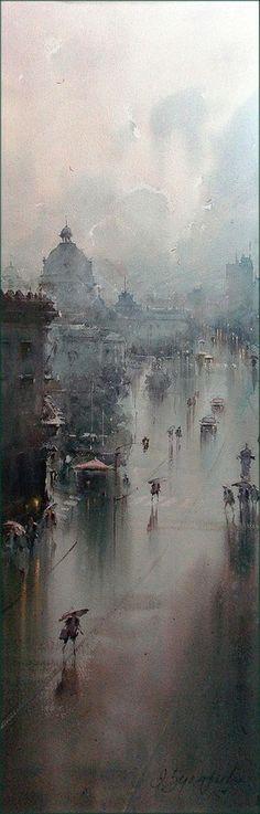 Dusan Djukaric - The rain bathed streets, Watercolor 36x54 cm Dusan Djukaric - Big Ben Dusan Djukaric - Umbrellas Charles bridg...