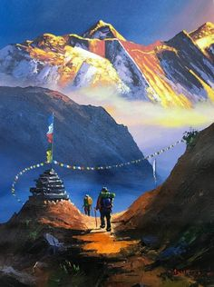 Mount Everest South View Nepal Himalayas Original Painting - New Ideas