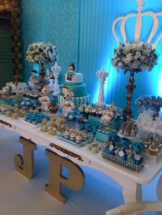 festa principe Prince Birthday Party, Frozen Bday Party, King Birthday, Prince Party, Baby Birthday, Birthday Parties, Kids Party Decorations, Baby Shower Decorations, Baby Shower Parties