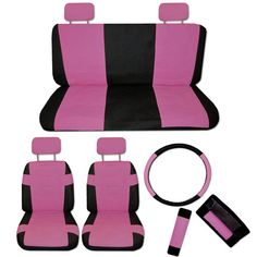 FAUX PU LEATHER Truck CAR SEAT COVERS 11 PC Set Superior Pink Black Bucket Bench   eBay