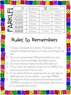 Farkle in the Classroom by The Elementary Bookworm - Abby Spann Family Card Games, Fun Card Games, Fun Math, Math Activities, Therapy Activities, Maths, Indoor Recess, 4th Grade Math, Math Facts