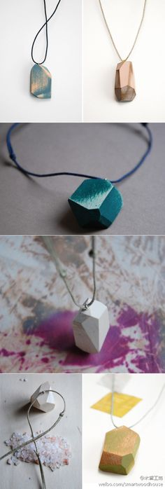 """For the love of wood for wood cut into """"diamond"""" pendant is also a good choice.  From Italian studio Studio Fludd creativity."""