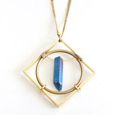 Geometric Raw Crystal Necklace with Crystal Point Mathematic Pendant