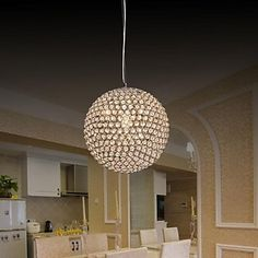 Ball Shape 1 Light Modern K9 Crystal Pendant Light - USD $ 79.99