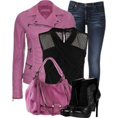 Purple and Black by fashion-766 on Polyvore featuring Coast, Bottega Veneta, Hudson Jeans, BURAK UYAN, Kooba, peep-toe booties, sheer blouses, skinny jeans, sheer and ankle boots