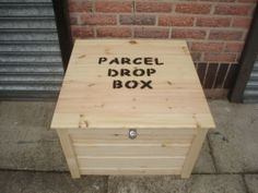 Parcel safe drop box lockable solid wood various sizes Mail Drop Box, Parcel Drop Box, Package Mailbox, Package Box, Outdoor Projects, Wood Projects, Outdoor Ideas, Outdoor Decor, Drop Box Ideas