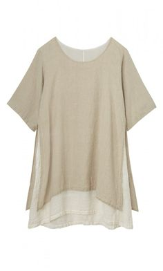 LAYERED LINEN TOP. Natural linen tunic with side seams split to reveal a contrasting cotton and linen undershirt. Layered style with scooped neck.