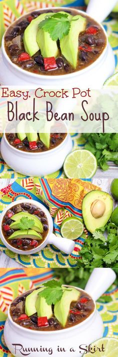 Easy Crock Pot Black Bean Soup - Healthy, clean eating recipe for tasty vegetarian or vegan slow cooker soup. | Running in a Skirt