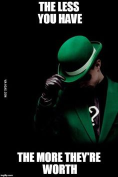 The Riddler (Edward Nygma) is a fictional supervillainappearing in American comic books published by Riddler Riddles, Riddle Puzzles, Word Puzzles, Logic Puzzles, Best Funny Pictures, Funny Photos, I Am Batman, Batman Riddler, Humor