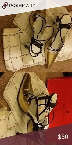 Festive Charles Jourdan Shoes Very Chic Gold Shoes with Black Straps. Perfect for a Night out on the town or a Party Charles Jourdan Shoes Heels