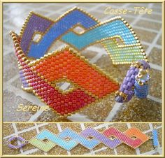 Wish I spoke French. For reals. Seed Bead Patterns, Beaded Bracelet Patterns, Peyote Patterns, Jewelry Patterns, Beading Patterns, Seed Bead Bracelets, Seed Bead Jewelry, Bead Jewellery, Beaded Jewelry