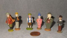 Vintage Erzgebirge Putz Lot of 6 Miniature Wooden People | eBay
