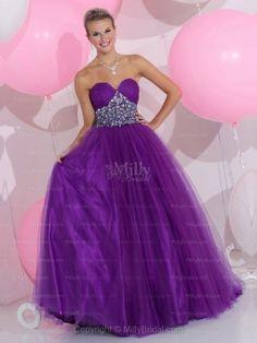 BallGown Sweetheart Tulle Satin Floor-length Purple Rhinestone Quinceanera Dresses