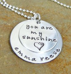 You are my sunshine.would love to get this for Elise. I would sing this song to her when she was little. Jewelry Crafts, Handmade Jewelry, Jewelry Ideas, Hand Stamped Jewelry, Engraved Jewelry, Metal Crafts, Diy Crafts, Metal Stamping, Jewelry Stamping