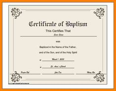 Sample Baptism Certificate Template | 8 Best Baptism Certificate Template Images Certificate Templates