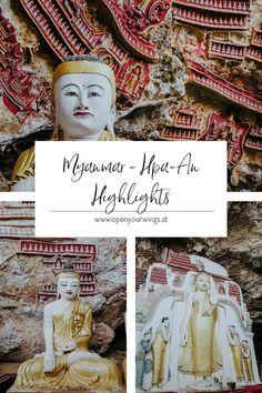 Zwar kann Hpa-An selbst nicht mit großen Touristenattraktionen aufwarten, dennoch lohnt es sich die Stadt zu besuchen. Sie ist der perfekte Ausgangspunkt für Roller-Ausflüge in die nahegelegenen kleinen Dörfer, zu den idyllischen Reisfeldern und natürlich zu den Höhlen - die absoluten Highlights von Hpa-An. Wer zudem das ländliche Leben in Myanmar kennenlernen will, für den ist Hpa-An genau das Richtige. Hpa An, Taiwan, Vietnam, Highlights, Blog, Movie Posters, Art, Treasures Reading, Singapore