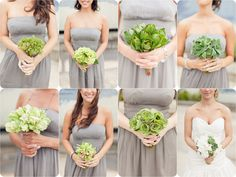 green bouquets; each of one type of flower; gray dresses - good color for bridesmaids dresses