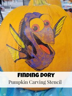 Fun ideas for hosting your own Finding Dory Halloween Party and a Finding Dory Pumpkin Carving Stencil. Celebrate the season and Finding Dory!