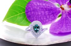 """""""Feodora"""" - a beautiful ring featuring a top quality Brazilian pear weighing Brazilian alexandrites like this one are well known for their strong color change that looks magnificent in any kind of light. Alexandrite Jewelry, Alexandrite Engagement Ring, Beautiful Engagement Rings, Beautiful Rings, Left Ring Finger, June Birth Stone, White Gold Rings, Diamond Rings, The Incredibles"""