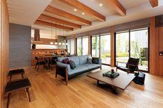 lodge decor ideas - New Ideas Japanese Home Design, Japanese Style House, Japanese Home Decor, Japanese Interior, Contemporary Interior Design, Modern House Design, Modern Interior, Open Plan Kitchen Living Room, Home Living Room