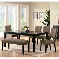Bay Side 6Piece Espresso Finish Dining Set ** Be sure to check out this awesome product.Note:It is affiliate link to Amazon.