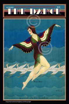 Whimsical Art Deco Dance Print The Dance Magazine Ballerina Art Nouveau Illustration, Magazine Illustration, Bird Costume, Costume Wings, Vintage French Posters, Dance Magazine, Vintage Dance, Science Fiction Art, Dance Art