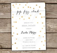 Black & Gold Bridal Shower Invitation Engagement by chitrap