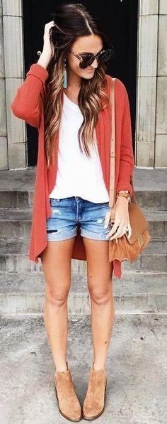 #summer #american #style   Rust Cardigan + Basics
