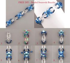 FREE PATTERN ~ Sea Anette bracelet beaded Swarovski Elements from Top-koralky.cz. Featured on Bead-Patterns Newsletter. Lots of Free Beading Patterns and tutorials are available!