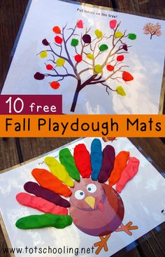 Get ready for Fall with this FREE set of 10 Fall themed Playdough Mats from Totschooling, featuring a jack-o-lantern, a Thanksgiving turkey, a bat