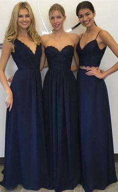 Navy Blue Bridesmaid Dress Chiffon Dresses Simple Lace