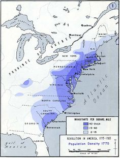 The map above shows the population density of the original thirteen American colonies the year before they declared independence. Even back then, what would become the Boston–Washington Corridor was clearly evident. History Interactive Notebook, Social Studies Notebook, Interactive Notebooks, Teaching Us History, History Education, American History Lessons, 13 Colonies, Military Academy, Colonial America