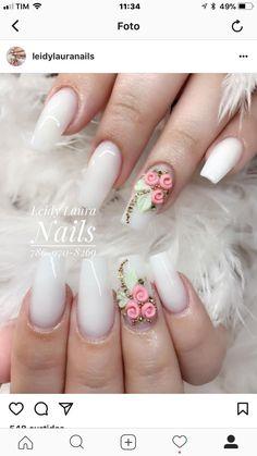 3d Nail Designs, Acrylic Nail Designs, Rose Nails, Flower Nails, Bling Nails, 3d Nails, Gorgeous Nails, Pretty Nails, Finger Nail Art