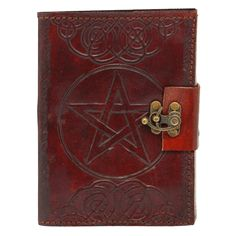 Embossed Leather Pentacle Journal With Lock - 060-2342 by Medieval Collectibles