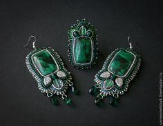 Купить Green! - тёмно-зелёный, кольцо, серьги, комплект, малахит, чешское стекло