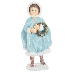 Blue Girl Figurine with Wreath