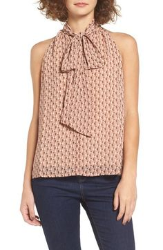 WAYF 'Marion' Sleeveless Tie Neck Blouse available at #Nordstrom
