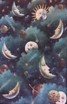 Moons, planets, and stars.