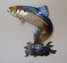 Salmon Wall Art Stainless Steel by BTsculpture on Etsy Diy Art Projects, Metal Projects, Metal Crafts, Fish Wall Art, Fish Art, Metal Artwork, Metal Wall Art, Wall Sculptures, Sculpture Art