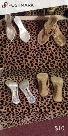 $9 tomorrow 👠👠Heels bundle👠👠 One clear pair size 6.5 and one brown pair 6.5 Shoes Heels