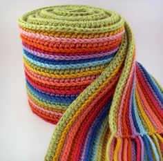 Striped Rainbow Scarf Crochet Scarf with Merino Wool by JennOzkan