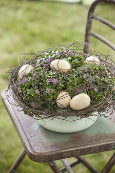 Ideas for spring and Easter arrangements using potted plants and natural accents