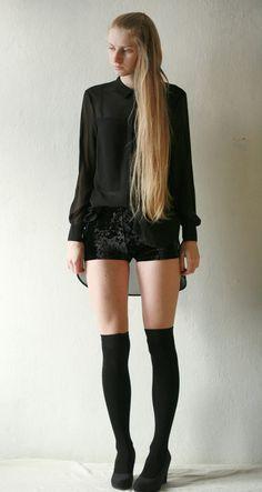 High waisted black crushed velvet shorts by DGstyle on Etsy, $25.00