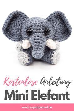 Crochet Elephant Pattern Free, Disney Crochet Patterns, Crochet Amigurumi Free Patterns, Crochet Animal Patterns, Small Crochet Gifts, Cute Crochet, Crochet Key Cover, Easy Crochet Animals, Beginner Crochet Projects